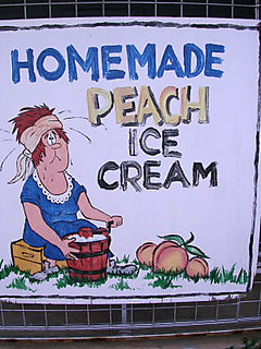 Homemade peach icecream sign