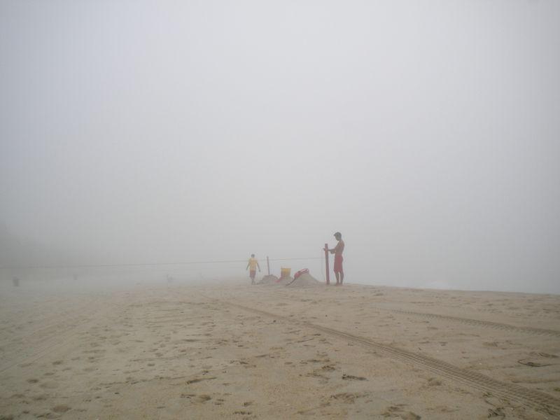 Lifeguards setting up