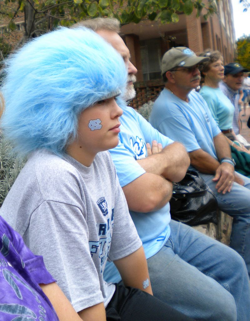 Kid at UNC blue hair